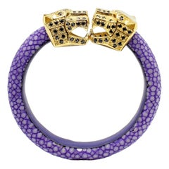 Purple Galuchat Skin Bangle Bracelet with Panther Head Gold-Plated