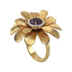 Purple Garnet Diamond 18KT Rose Gold  Made in Italy Happy Flower Ring