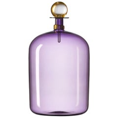 Purple Glass Bottle with Gold Stopper, Hand Blown Vase by Vetro Vero - In Stock