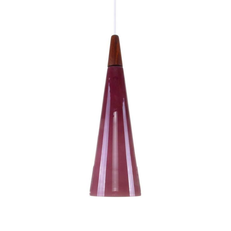 Purple Glass Pendant Light with Teak Top, 1970s Scandinavian Modern Hanging Lamp