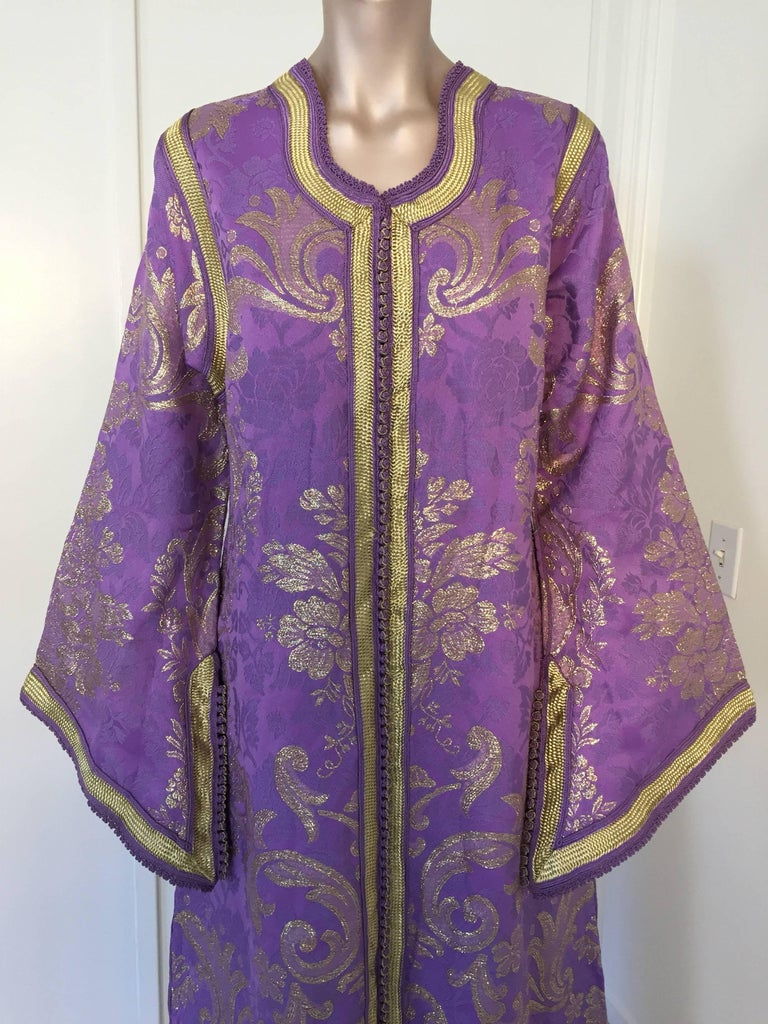 Moorish Lavender and Gold Brocade 1970s Maxi Dress Caftan, Evening Gown Kaftan For Sale