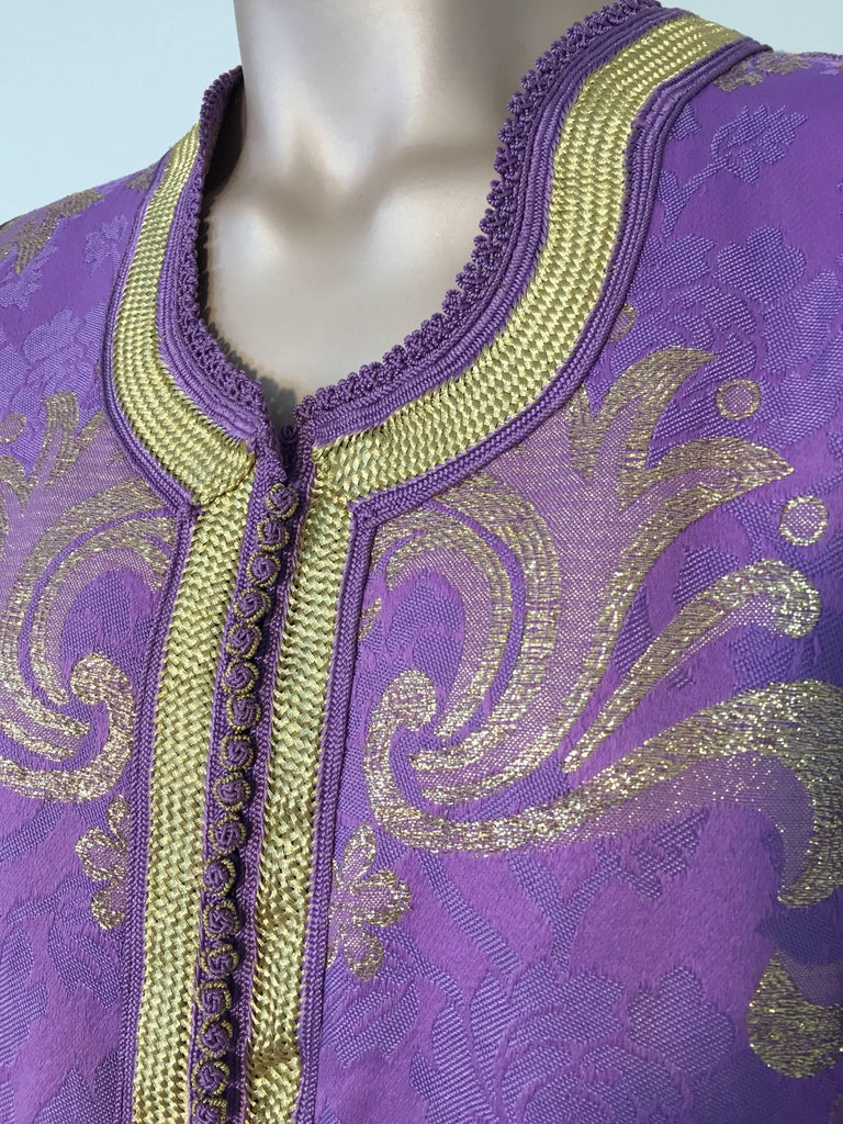 Moroccan Lavender and Gold Brocade 1970s Maxi Dress Caftan, Evening Gown Kaftan For Sale