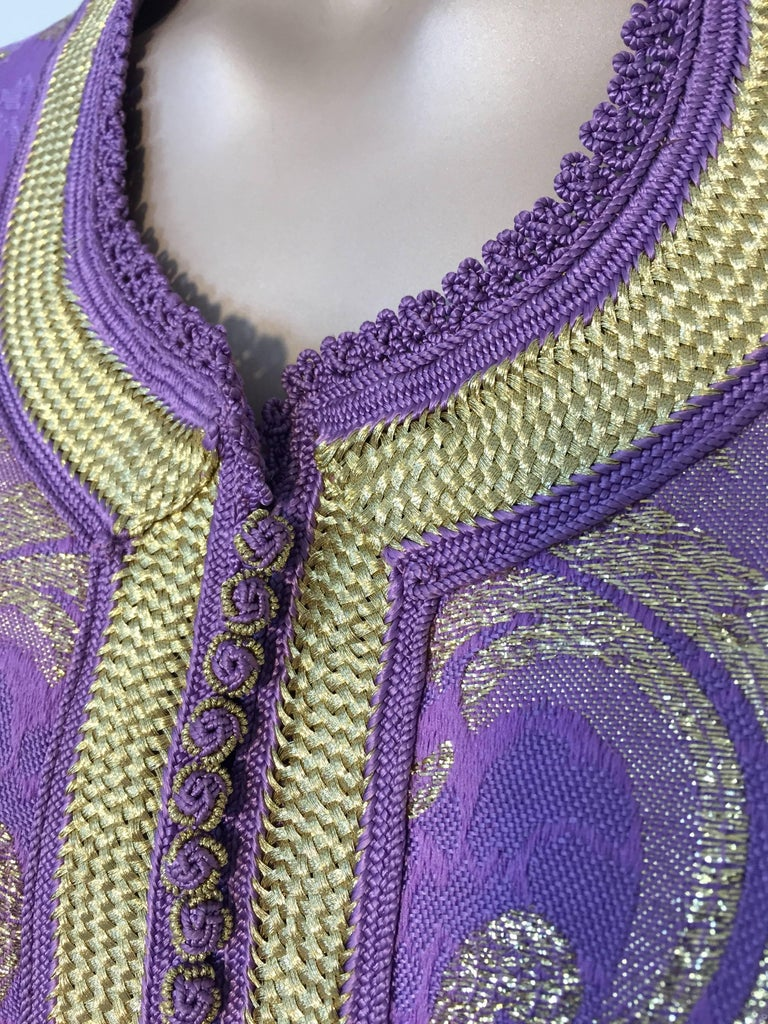 Hand-Crafted Lavender and Gold Brocade 1970s Maxi Dress Caftan, Evening Gown Kaftan For Sale