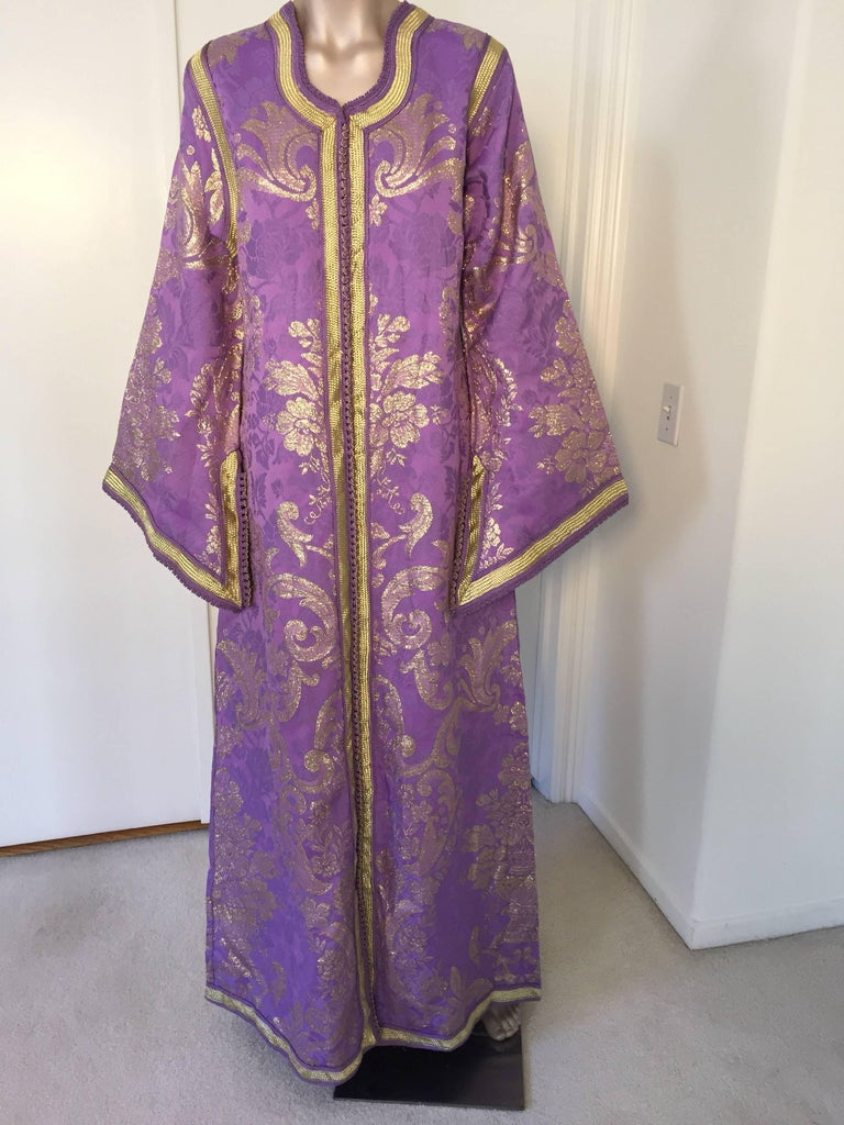 20th Century Lavender and Gold Brocade 1970s Maxi Dress Caftan, Evening Gown Kaftan For Sale