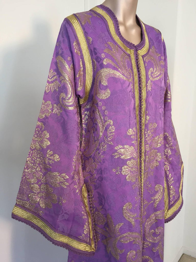Lavender and Gold Brocade 1970s Maxi Dress Caftan, Evening Gown Kaftan For Sale 1