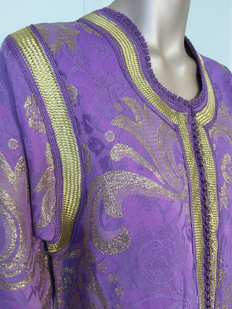 Lavender and Gold Brocade 1970s Maxi Dress Caftan, Evening Gown Kaftan For Sale 2