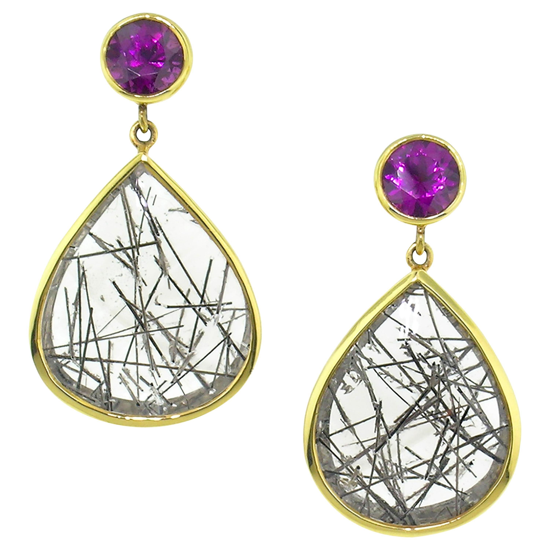 Purple Grape Garnet and Tourmalinated Quartz in 18kt Earrings by Cynthia Scott