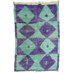 Purple Green Vintage Turkish Shag Rug