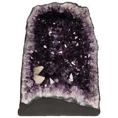Purple Half Geode Amethyst with Calcite Formations Shaped as Cathedral or Chapel