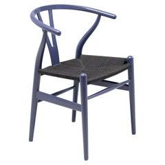 Purple Hans Wegner for Carl Hansen CH24 Wishbone Chair with Black Papercord Seat