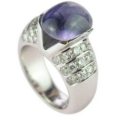 Purple Iolite Cabochon Diamond Brilliant Cut 18 Karat White Gold Cocktail Ring