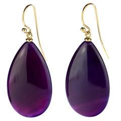 Purple Liliac Agate 18 Karat Yellow Gold Briolette Tear Drop Hook Long Earrings