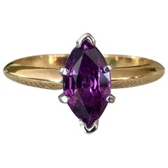 Purple Marquise Sapphire Engagement Ring 18 Karat Gold and Platinum
