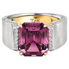 Purple Men Spinel Ring, 18k White Gold and Diamonds Ring