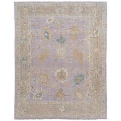 Purple Modern Sultanabad Handmade Floral Wool Rug
