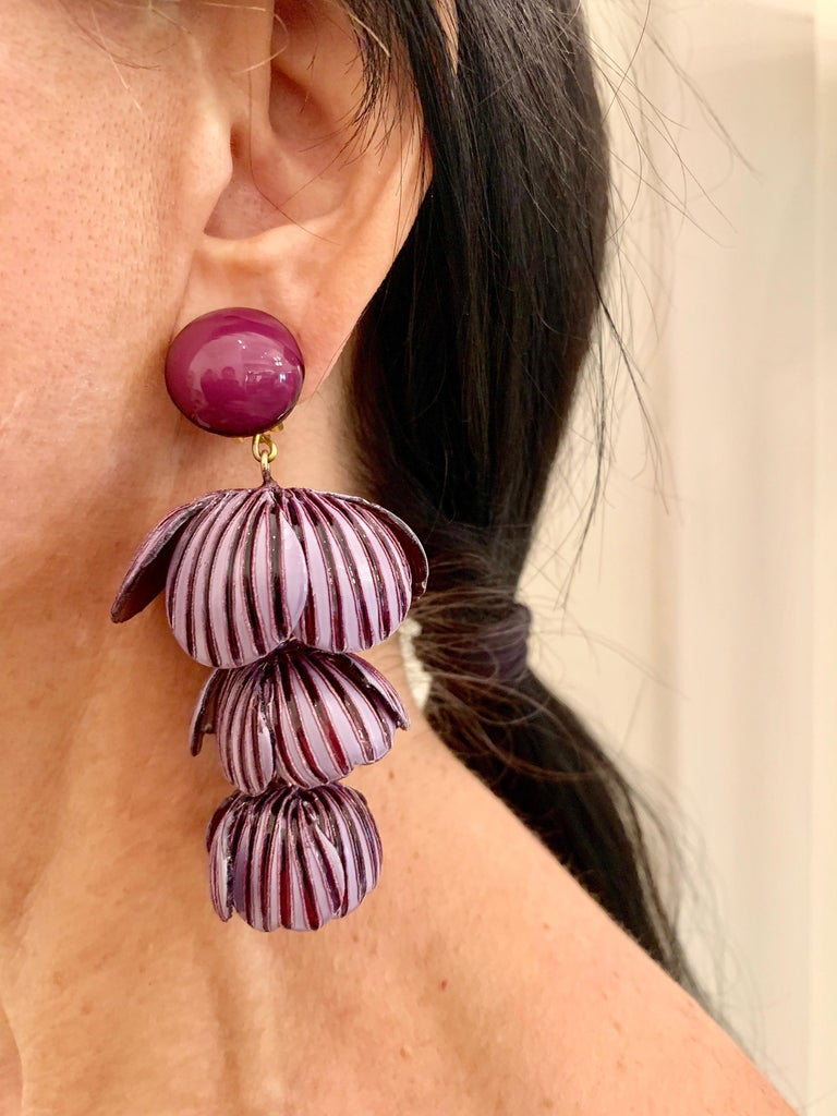 Contemporary  Architectural Two-tone Purple Flower Statement Earrings  For Sale
