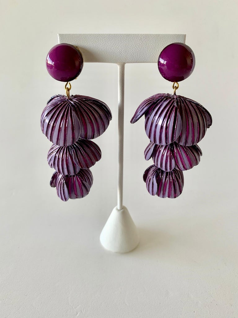 Architectural Two-tone Purple Flower Statement Earrings  For Sale 2