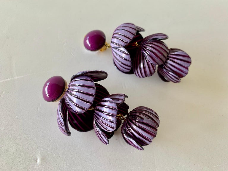 Architectural Two-tone Purple Flower Statement Earrings  For Sale 4