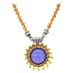 Purple Moon Face Sunflower Amber and Aurora Borealis Crystal Magnetic Necklace