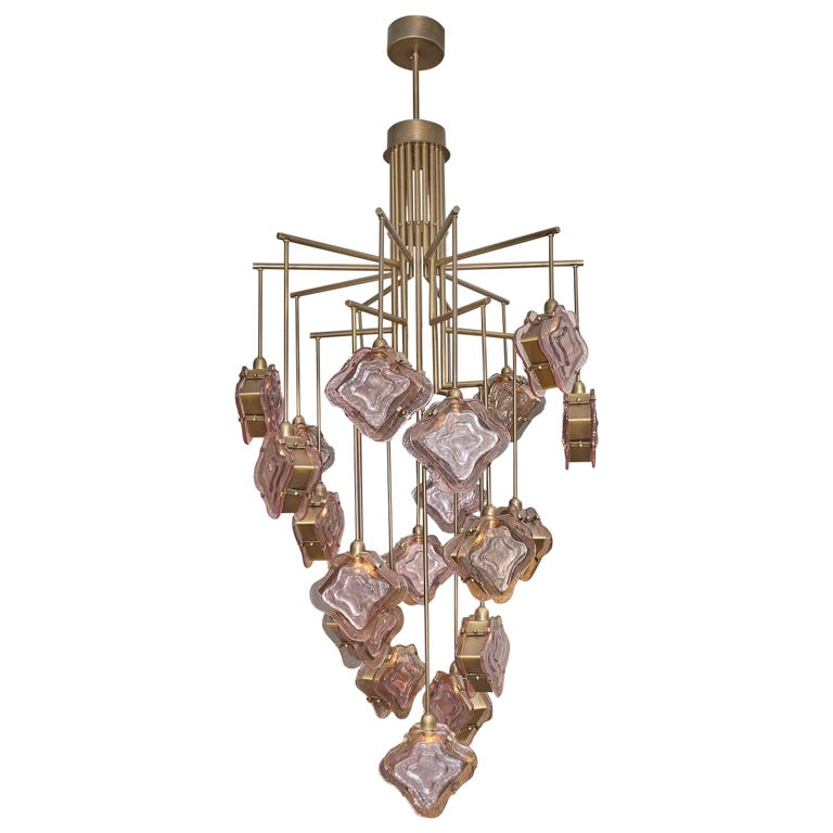 Purple Murano Glass and Bronze Chandelier For Sale