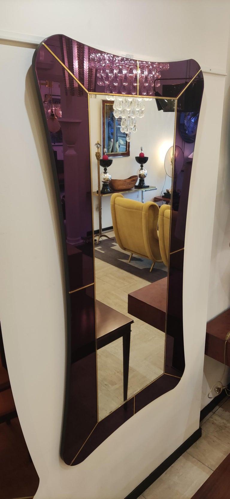 Purple Murano Glass Mirror For Sale 6