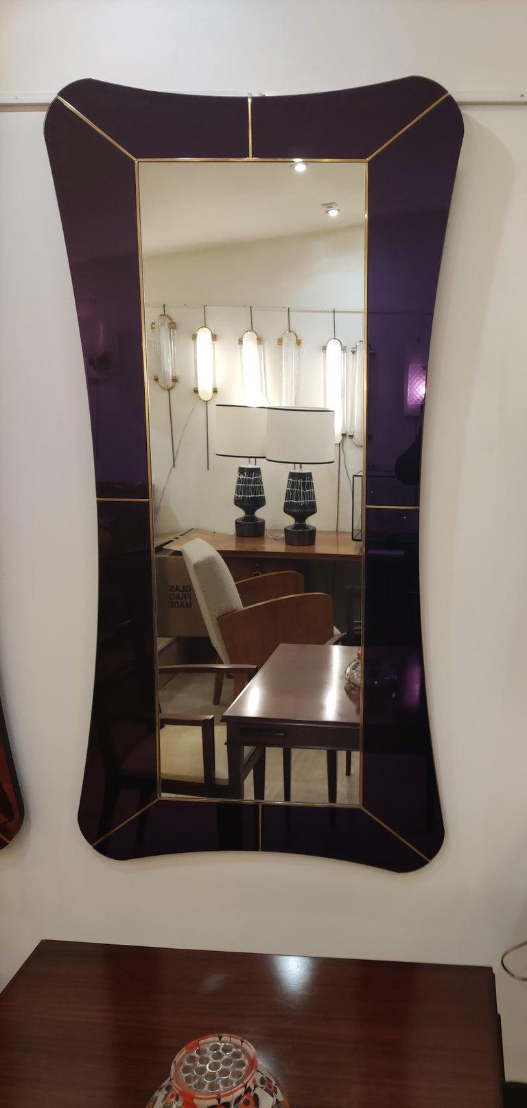 Italian Purple Murano Glass Mirror For Sale