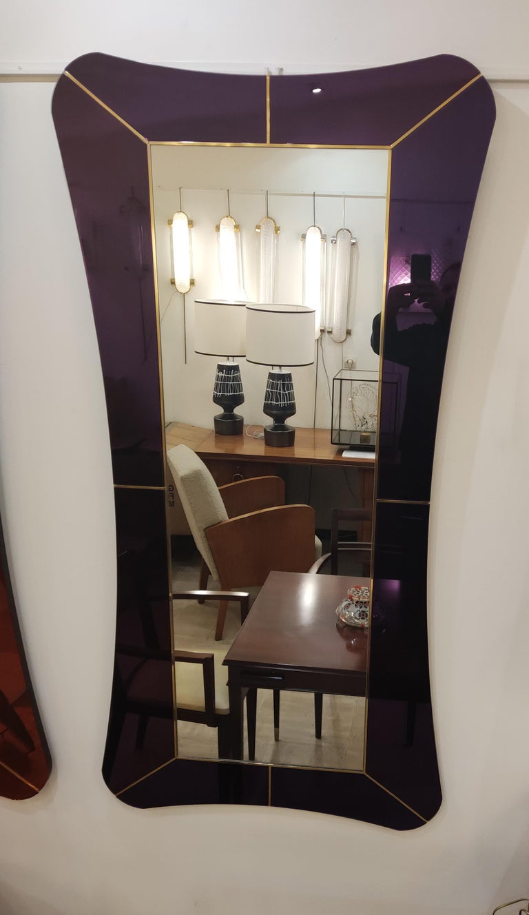 Purple Murano Glass Mirror In Excellent Condition For Sale In Saint-Ouen, FR