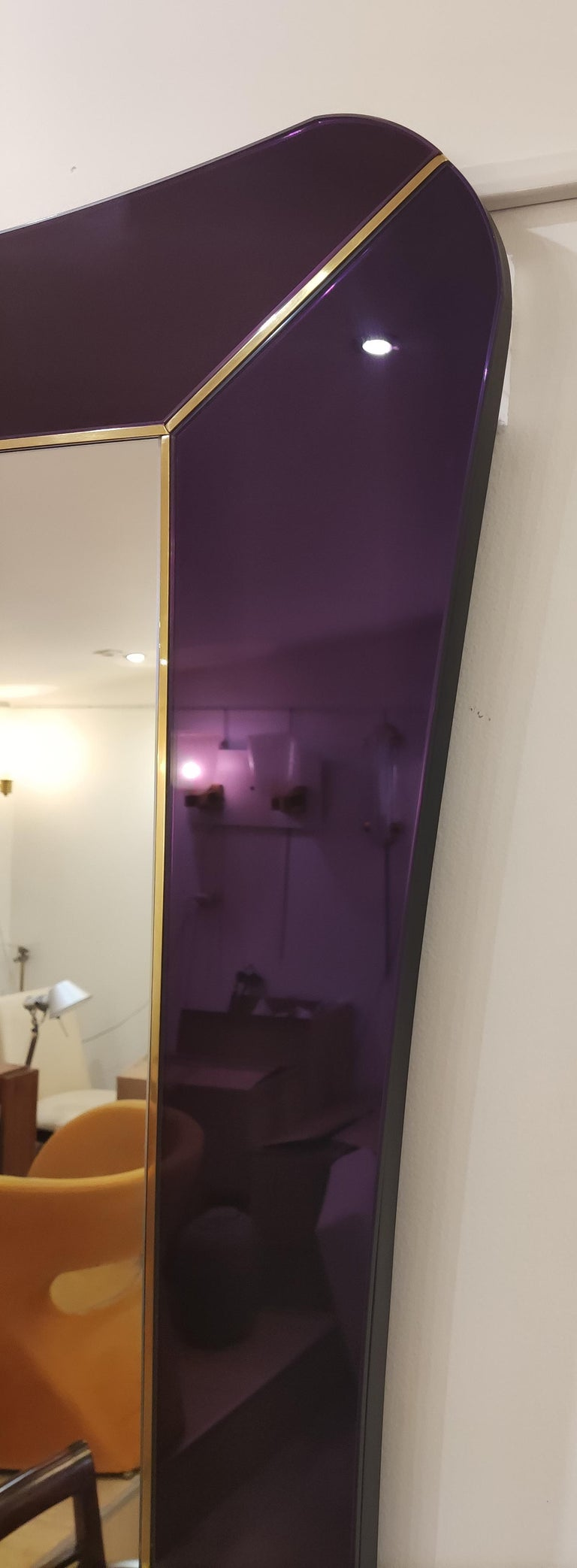 Contemporary Purple Murano Glass Mirror For Sale