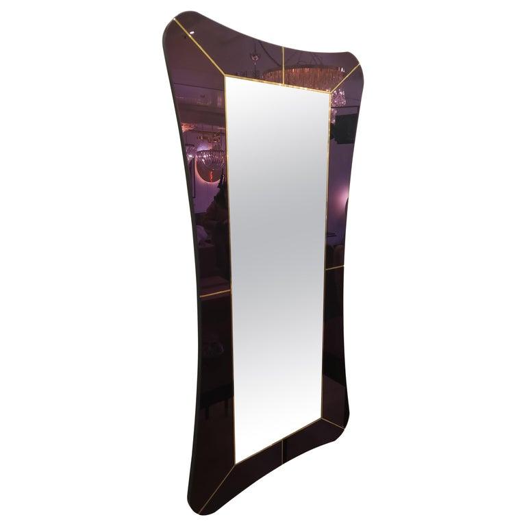 Purple Murano Glass Mirror For Sale