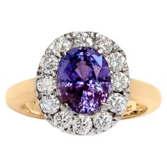 Purple Oval Sapphire and Diamond Cluster Ring Set in 18ct Yellow and White Gold