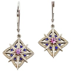 Purple Pink and Blue Nautical Star and Clover Drop Earrings Lever Back Drops