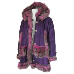 Purple Pink Hooded Leather Shearling Fur Coat