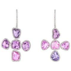 Purple Pink Sapphire and Diamond Cross Earrings