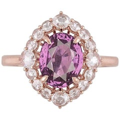 GIA Certified 2.48 Carat Oval Cut Purple-Pink Sapphire Ring in 18k Rose Gold