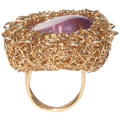 Purple Polished Amethyst with Gold Statement Ring by Sheila Westera