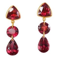 Purple Red Garnet 22 Karat Gold Drop Push Earring