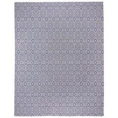 Purple Reversible Handwoven Flat-Weave Carpet, Floral Design