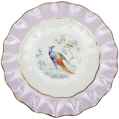 Purple Royal Crown Derby Bone China Colorful Scalloped Peacock Plate, England