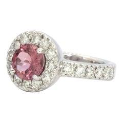 Purple Sapphire and Diamonds Cocktail Engagement 14 Karat Gold Ring