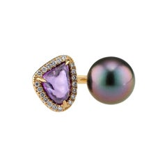Purple Sapphire and Tahitian Pearl and Diamond Ring