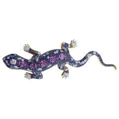Purple Sapphire, Blue Sapphire, Tsavorite and Diamond Lizard Brooch in 18K Gold