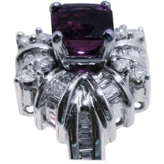 Purple Sapphire Cocktail Ring with Diamonds in 18K White Gold