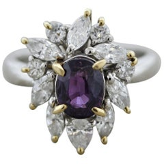 Purple Sapphire Diamond Gold and Platinum Ring