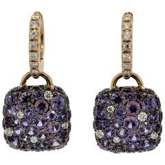 Purple Sapphire Diamond Gold Drop Earrings