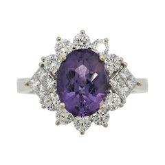 Purple Sapphire Diamond Gold Ring