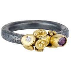 Purple Sapphire Diamond Granulation Yellow Gold Oxidized Sterling Silver Ring