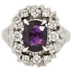 Purple Sapphire Diamond Platinum Ring