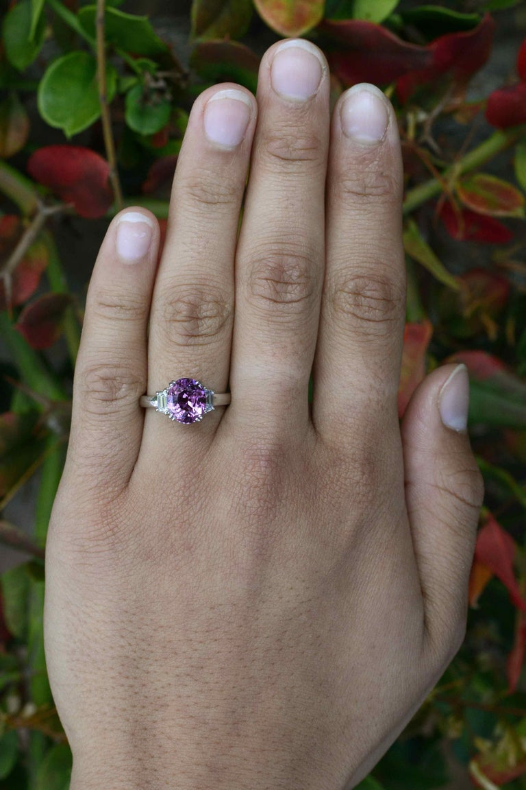 Contemporary Purple Sapphire Engagement Ring 3-Stone Trinity Platinum Estate Gemstone Bridal For Sale