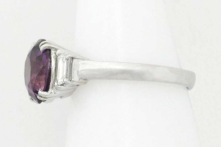 Women's Purple Sapphire Engagement Ring 3-Stone Trinity Platinum Estate Gemstone Bridal For Sale