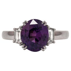 Purple Sapphire Engagement Ring 3-Stone Trinity Platinum Estate Gemstone Bridal